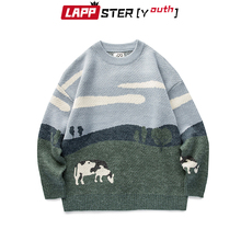 LAPPSTER-Youth Men Cows Vintage Winter Sweaters 2020 Pullover Mens O-Neck Korean Fashions Sweater Women Casual Harajuku Clothes