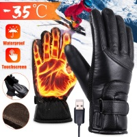 USB Plug Electric Heated Gloves Windproof With Touchscreen Finger For Men Women Winter Hands Warmer Thermal Gloves  /1