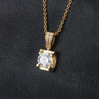 Classic 18K Yellow Gold long Pendant with 1carat round moissanite stone Gold Chain long Necklace Gift For Women in Fine Jewelry 6