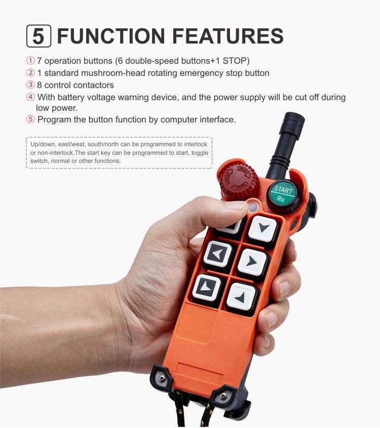 controlador (2 transmissores 1 receptor) para guindastes talha controlador