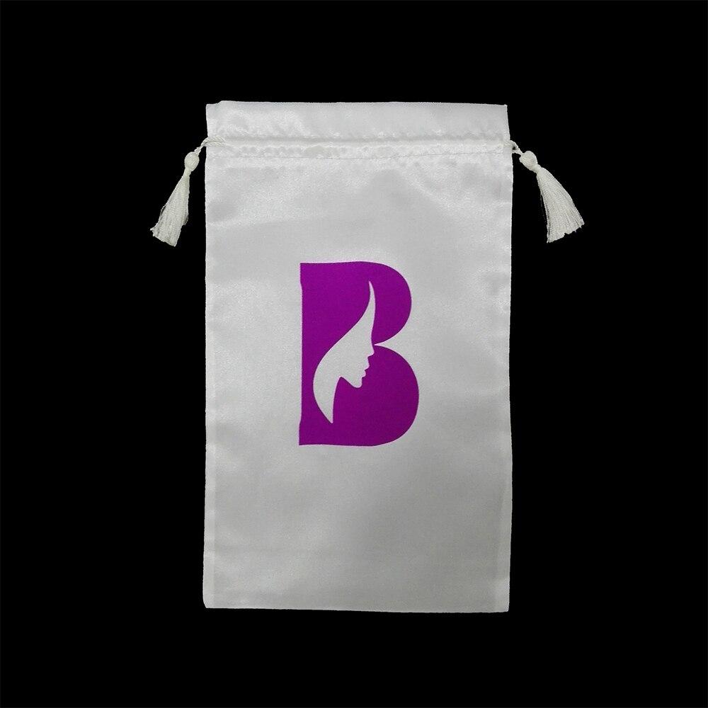 50 шт Белый Розовый Черный девственные волосы сумка с шнурком и кисточкой, пряди для наращивания волос атласная сумка с логотипом на заказ - 3