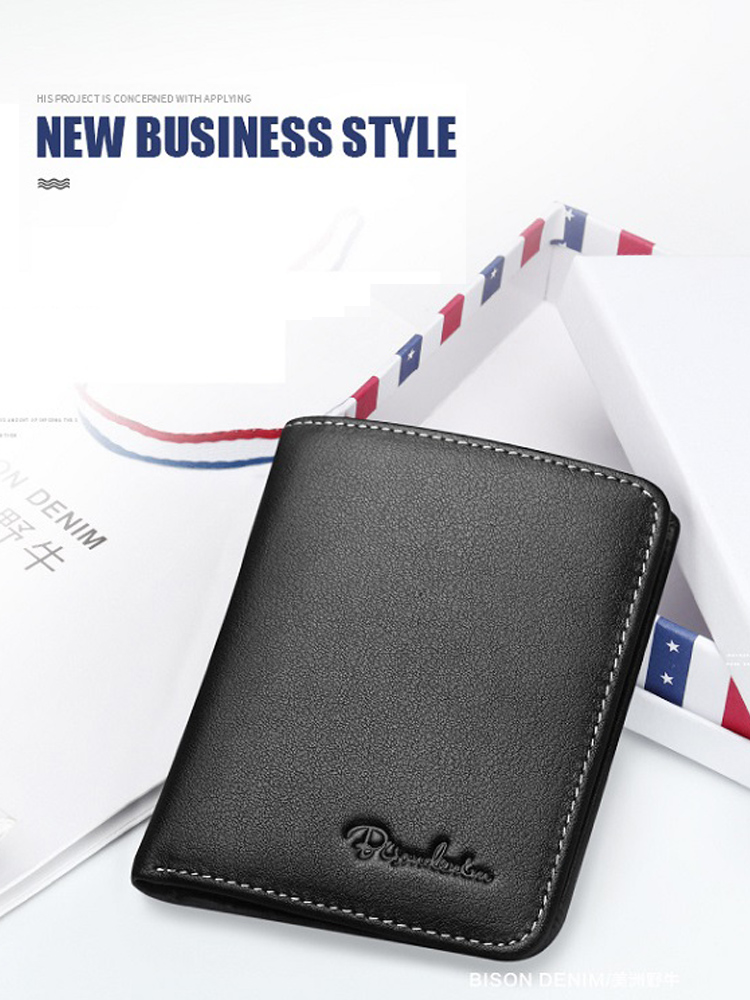 Purse Card-Holder Male Wallet Cowskin Thin Black Soft Mini Genuine-Leather Bison Denim
