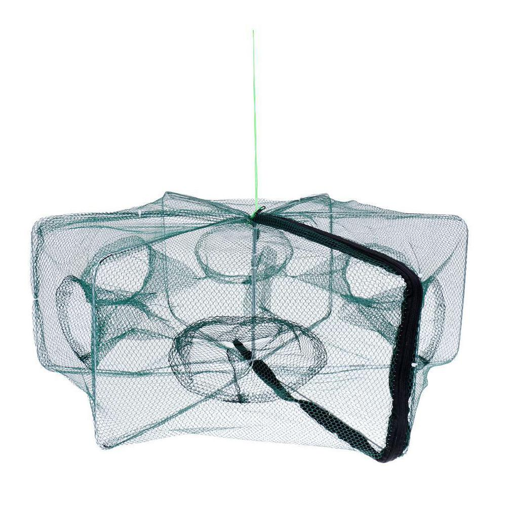 Folded Hexagon 6 Hole Automatic Fishing Shrimp Trap Fishing Net Fish Shrimp Minnow Crab Baits Cast Mesh Trap
