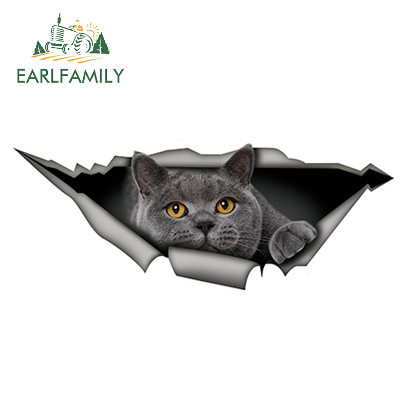 EARLFAMILY 15cm X 6cm British Shorthair Funny Cat Car Sticker Gray Cat Decal Waterproof 3D Car Styling Stickers Decoration
