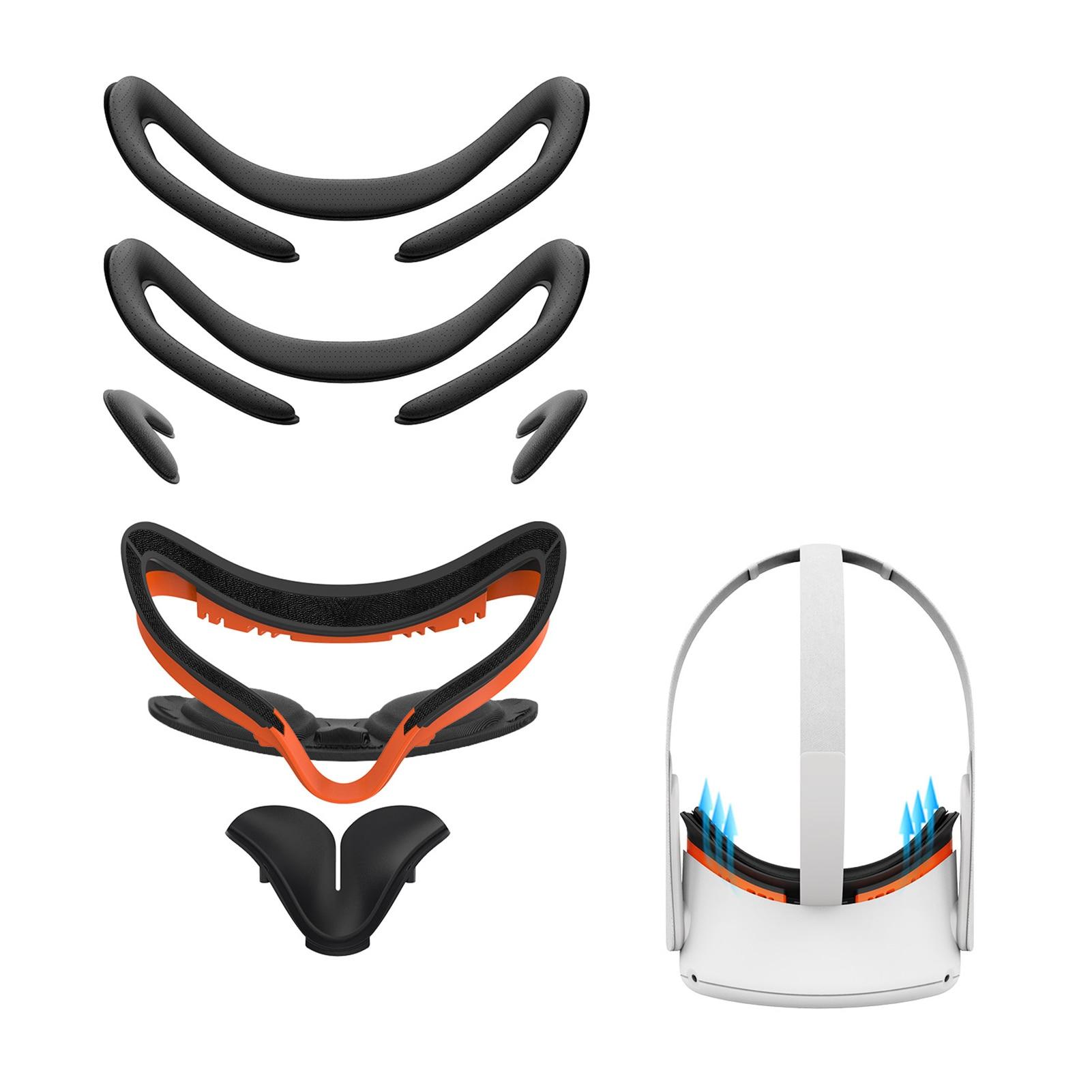 7 em 1 conjunto vr interface facial bracket & couro do plutônio espuma rosto capa almofada substituição conforto acessórios para oculus quest 2
