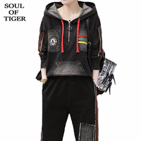 SOUL OF TIGER 2020 New Spring European Fashion Womens Loose Two Pieces Sets Ladies Vintage Patchwork Suits Casual Tops And Pants