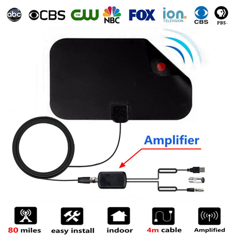 056 Indoor Digital TV Antenna VHF UHF HDTV Antenna With Amplifier 120 Miles HDTV Antennas DVB T T2 Aerial Receiver Amplifier in TV Antenna from Consumer Electronics