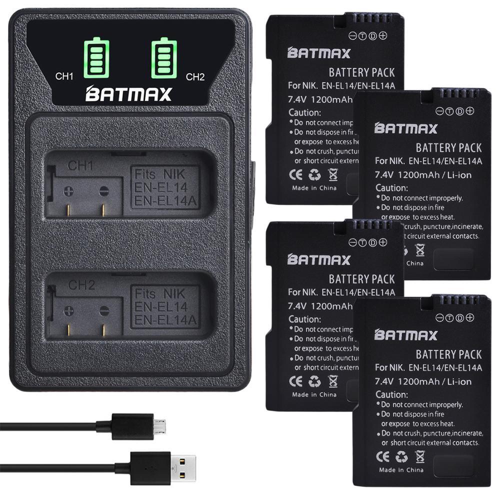 Batterie 4x EN-EL14 EN EL14, avec LED intégré, double chargeur USB MH-24 pour Nikon D3100 D5200 DF P7000 P7100 P7200 P7700 P7800