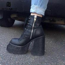 Prova perfetto preto couro genuíno botas de tornozelo femininas concisa cor sólida zíper de dedo do pé redondo-sid plataforma senhora sapatos casuais