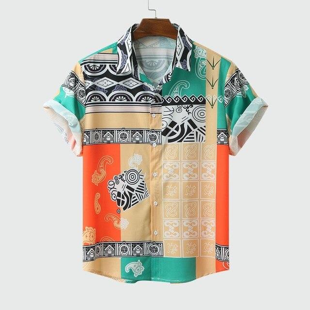 Hot Men's 4 Color Summer Print Brand Shirt 2020 Fashion Men Short Sleeve Buttons Tops Loose Man Shirts Hawaiian Casual Shirt 2XL Men's Fashion