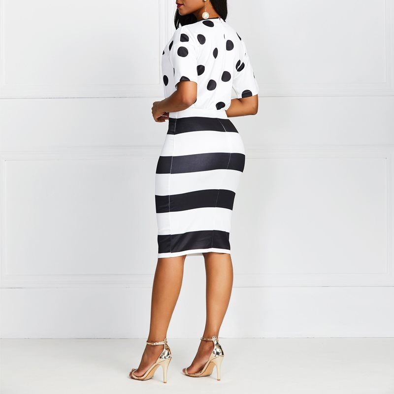 Elegant Retro Office Lady Sexy Bodycon Dress Round Neck Short Sleeve Black and White Wave Point Stripe 2019 Best Selling in Dresses from Women 39 s Clothing