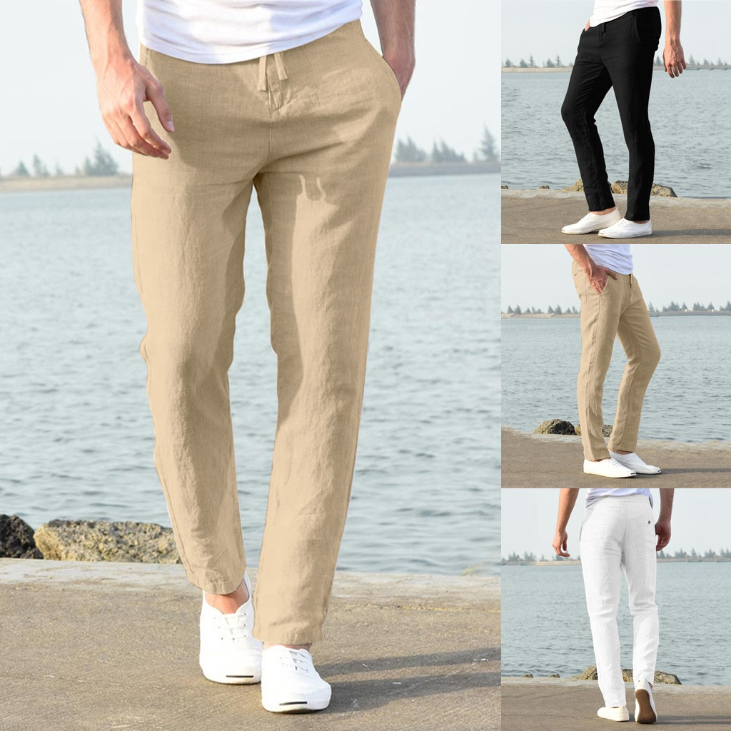 Hc2ff759ca9b2466fb140085e534436bcw Feitong Fashion Cotton Linen Pants Men Casual Work Solid White Elastic Waist Streetwear Long Pants Trousers
