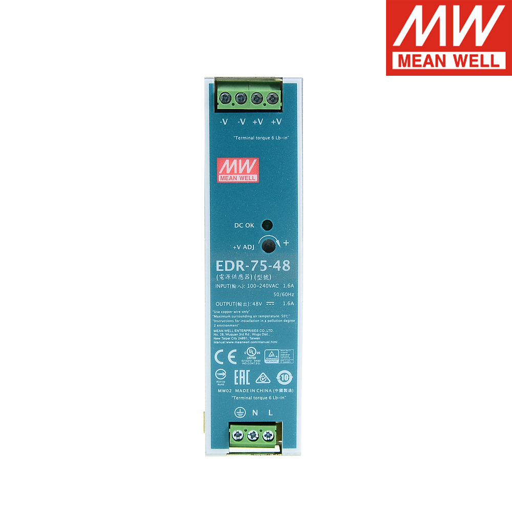Mean Well EDR-75-24 220V <font><b>AC</b></font> TO <font><b>DC</b></font> <font><b>24V</b></font> Single Output <font><b>Din</b></font> Rail Switching power supply <font><b>24V</b></font> 3.2A 76.8W Meanwell LED Driver image