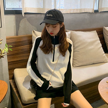 Early Autumn New Sweater Casual Thin Colour-clashing Knitted Long-sleeved Zipper Blouse for Women In The of 2019