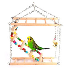 Parrots Toys Bird Swing Exercise Climbing Hanging Ladder Bridge Wooden Rainbow Pet Parrot Macaw Hammock Bird Toy With Bells(China)