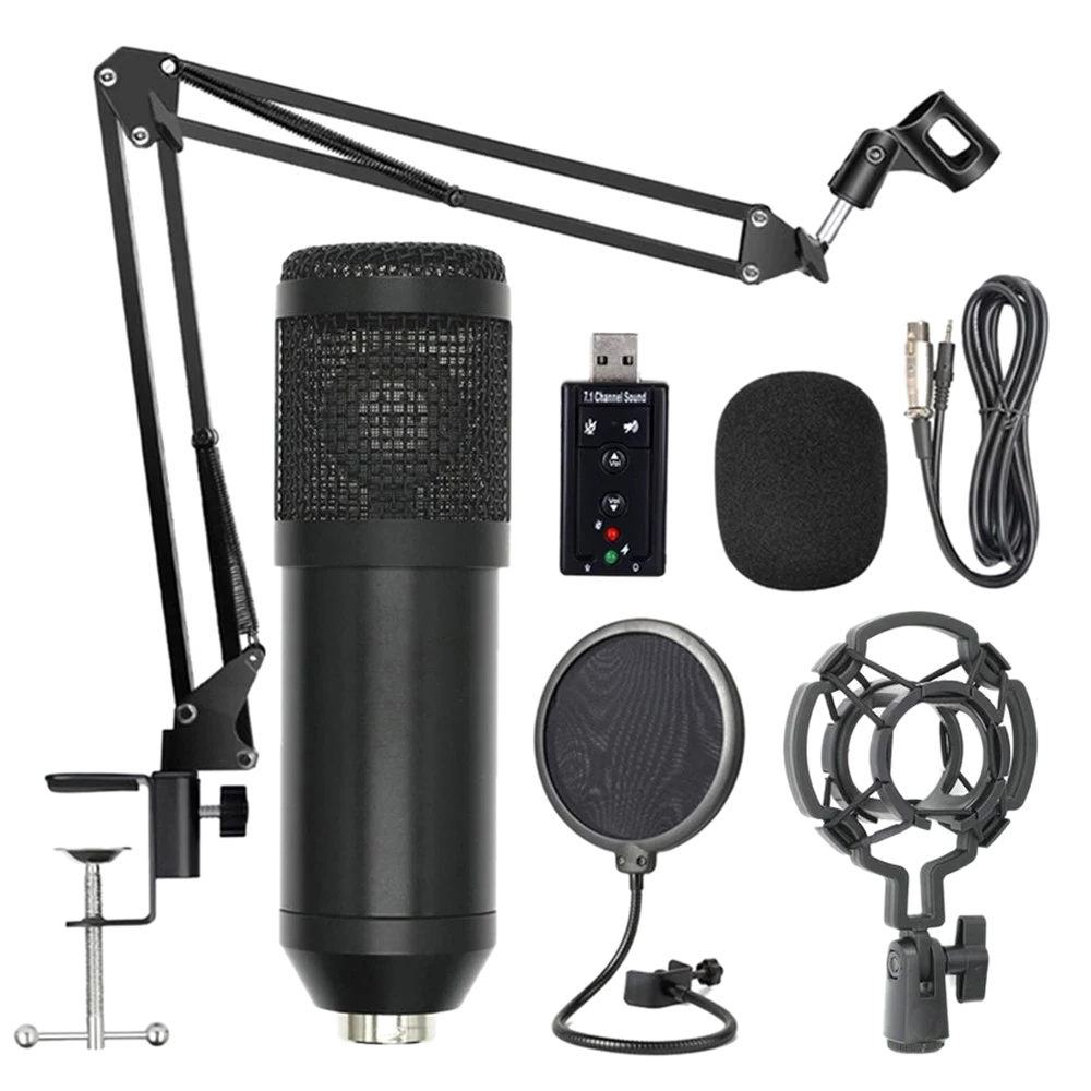 Bm800 Professional Suspension Microphone Kit Studio Live Stream Broadcasting Recording Condenser Microphone Set(Black)
