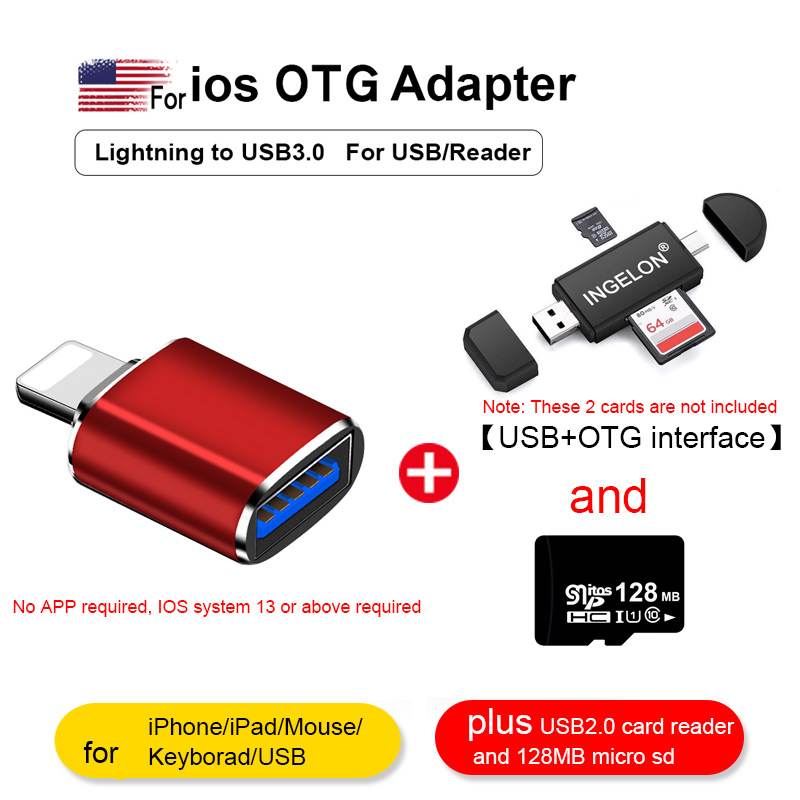 Lightning To USB Camera Adapter Iphone SD Card Reader With Micro SD For IPhone 7 8 6 6s Plus 11Pro/iPad/Mouse/Keyborad Converter
