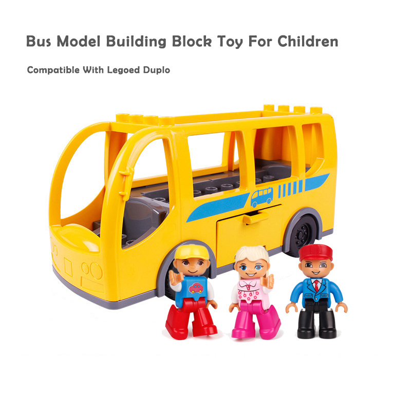 Duploed Bus Blocks Large Particles Building Blocks Accessories City Buses Model Vehicle Car Toys Kids Gifts Big Size Brick