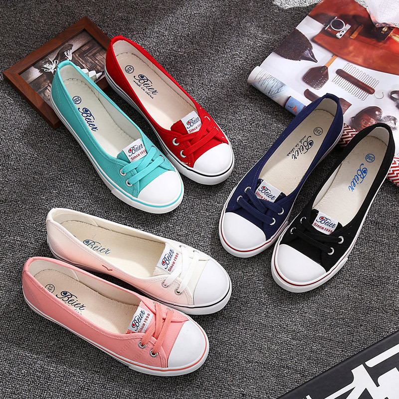 Fashion Shoes Woman 2019 Spring Summer New Fashion Casual Solid Canvas Breathable Simple  Women Casual White Shoes Sneakers