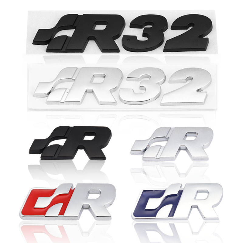 Etiqueta do carro sr 32 emblema decalques capa dianteira grade para volkswagen r corrida vw golf passat tiguan cc sagitar touareg sr adesivo