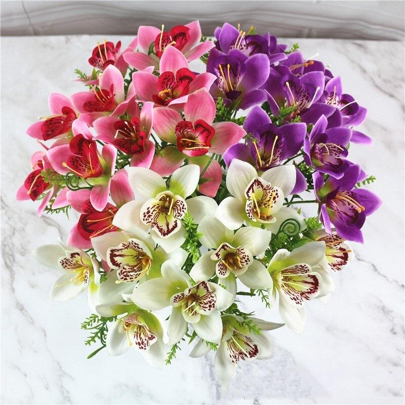 1 шт. Орхидея из искусственного шелка с цветочным принтом в форме искусственных цветов растения для Свадебная вечеринка дома украшения праздничного стола Floals Искусственные и сухие цветы      АлиЭкспресс