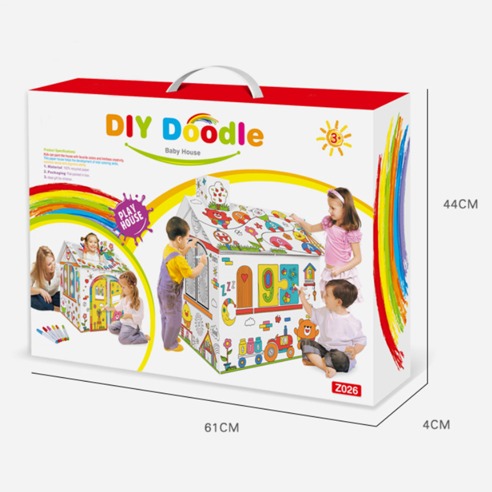 Kids Drawing Toy DIY Coloured Graffiti House With 6 Color Pen Hand-painted Doodle Paper House Children Early Education Toys Gift
