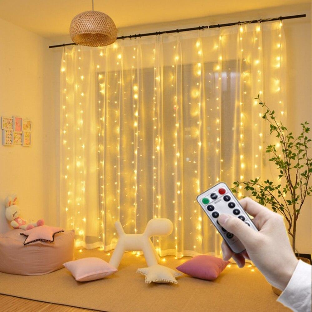 Işıklar ve Aydınlatma'ten LED Şerit'de Uzaktan led perde dize ışıkları USB powered peri ışıkları garland led düğün parti noel pencere ev için açık dekor title=