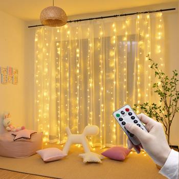 Zdalna girlanda żarówkowa LED Lights kurtyna lampki na baterie USB girlanda Led wesele boże narodzenie na okno dekoracja na zewnątrz domu tanie i dobre opinie Kongdii CN (pochodzenie) ROHS 1 year CHRISTMAS Z tworzywa sztucznego Przycisk komórki Żarówki led Brak Ba9s 300cm 1-5 m
