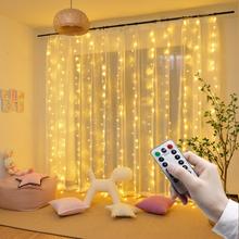 Zdalna girlanda żarówkowa LED Lights kurtyna lampki na baterie USB girlanda Led wesele boże narodzenie na okno dekoracja na zewnątrz domu tanie tanio Kongdii CN (pochodzenie) ROHS 1 year CHRISTMAS Z tworzywa sztucznego Przycisk komórki Żarówki led Brak Ba9s 300cm 1-5 m