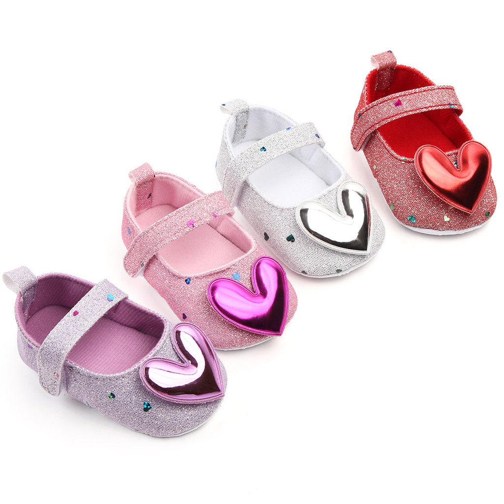 Heart-Shaped Newborn Baby Girls Princess Shoes Mary Jane Heart Prewalkers Soft-Soled Bottom Shoes Crib Babe Ballet Dress Shoes