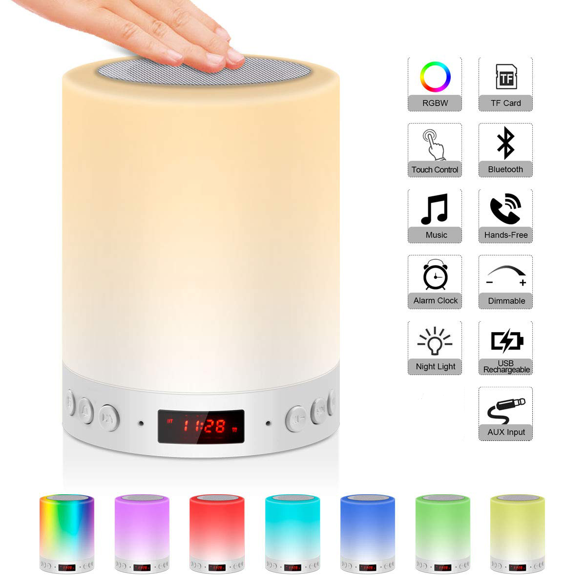5 In 1 Portable Bedside Lamp Table Lamp Bluetooth Speaker Music USB FM Radio Alarm Clock Digital Light LED Multicolor Gift