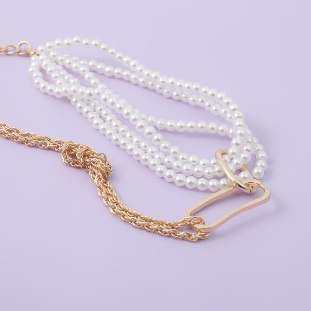 Chunky Thick Twist Chain Necklace  Gothic Multi Layered Imitation Pearl 4