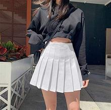 Женские плиссированные юбки с высокой талией школьная белая/черная