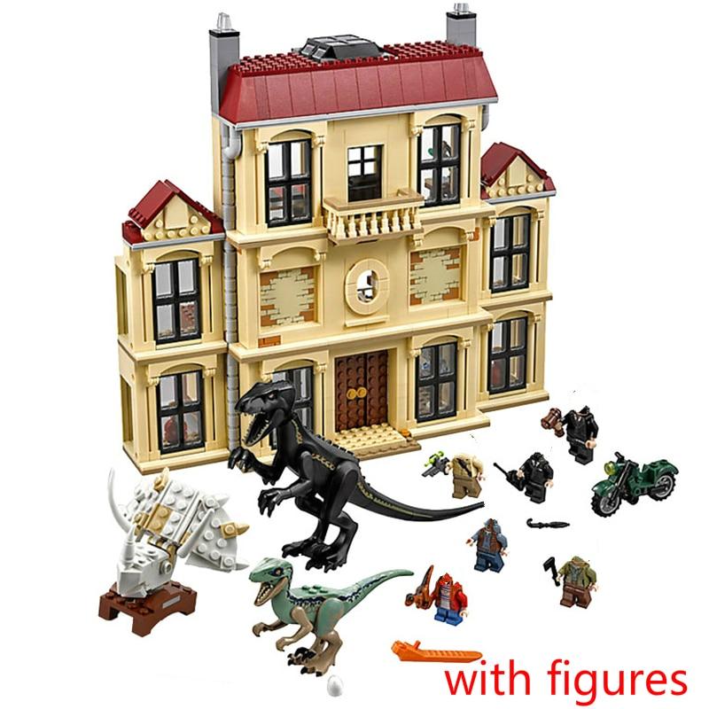 Jurassic World 2 75930 1046pcs Dinosaur Indoraptor Rampage At Lockwood Estate Building Block Toys For Children 10928