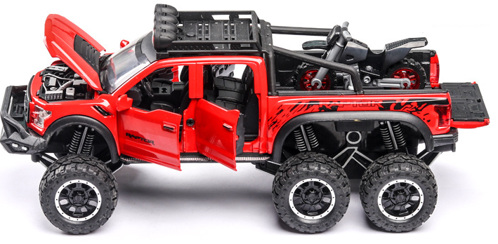 New 1:32 Ford Raptor F150 Big Wheel Alloy Diecast Car Model With With Sound Light Pull Back Car Toys For Children Xmas Gifts 4