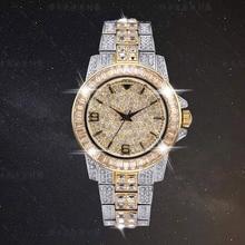 高級ブリンブリンダイヤモンド石の時計 18 18k ゴールドメッキアウトクォーツアイス手首は、男性、男性防水腕時計