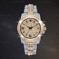 Luxury Bling Diamond Stones Men's Watch 18k Gold Plated Ice out Quartz Iced Wrist Watches for Men Male Waterproof Wristwatch|Quartz Watches| |  -