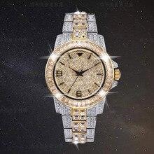 Reloj de lujo con piedras de diamante brillante para hombre, cronógrafo de pulsera con diamantes de imitación, chapado en oro de 18k, resistente al agua