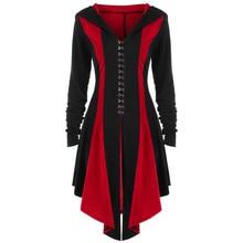 Womens Gothic Military Coat Black Punk Ladies Steampunk Uniform Jacket Stylish High Low Hooded Parka Outwear costume bandage
