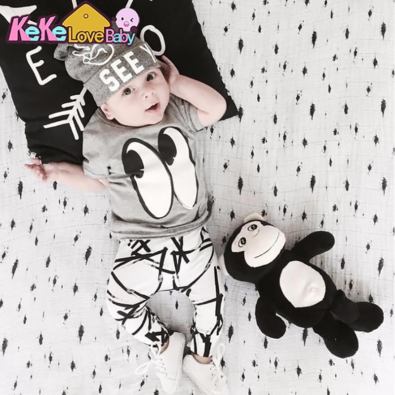 Newborn Baby Boy Clothes Summer Toddler Outfits Set Cotton T-shirt+Pants 2Pcs Cartoon New Born Infant Boys Clothing Suit