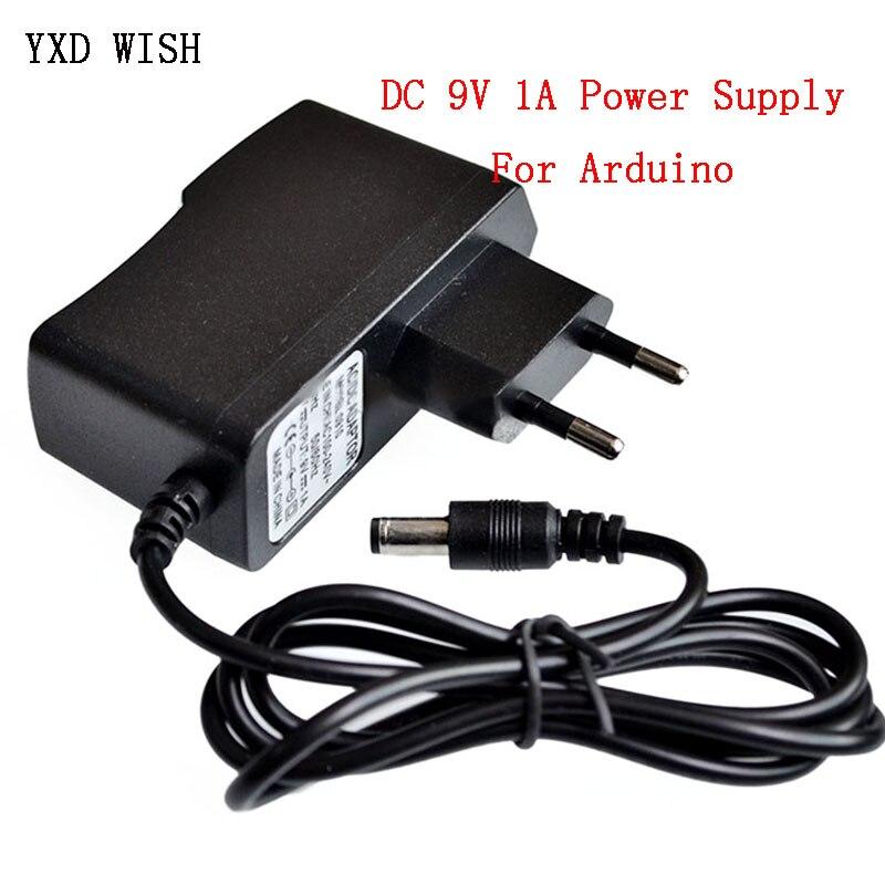Adaptador de fuente de alimentación CC 9 V 1A adaptador de convertidor CA 100 V-240 V CC 5,5mm x 2,1mm para fuente de alimentación Arduino UNO R3 MEGA 9 V Volt 1 A Adaptador de adaptador de 3/4 pulgadas, cable de grifo, adaptador de tanque IBC, conector de reemplazo, válvula de conexión para conectores de hogar para jardín Irr