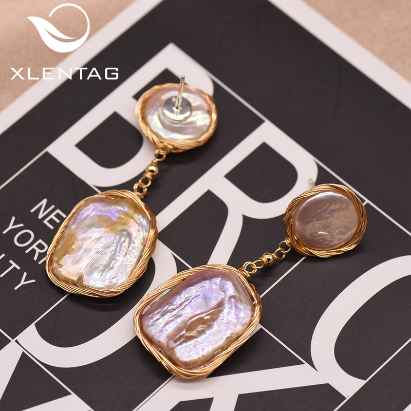 Xlentag Dangle-Earrings Fine-Jewelry Wedding-Gift Baroque-Pearl Purple Natural Women title=