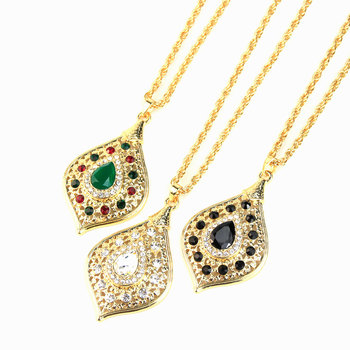 Sunspicems Unique Gold Color Morocco Long Pendant Necklace Snake Chain for Women Arabic Ethnic Wedding Jewelry Turkish Gift 2
