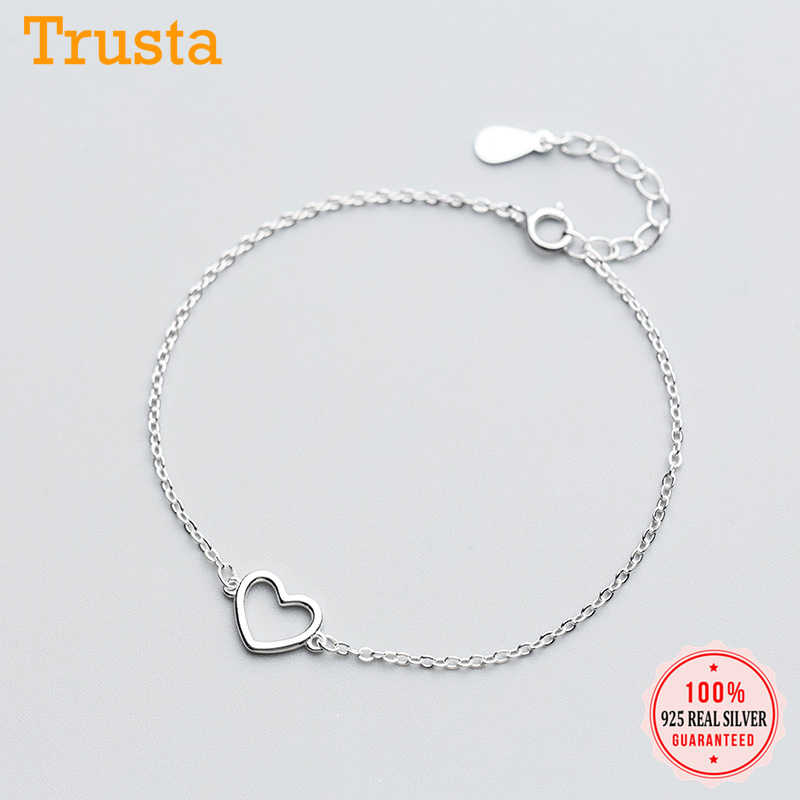 Trusta 100% 925 Sterling Silver Fashion Women's Jewelry Hollow Heart Bracelet 15.5cm For Gift Girl Lady Drop Shipping DS568