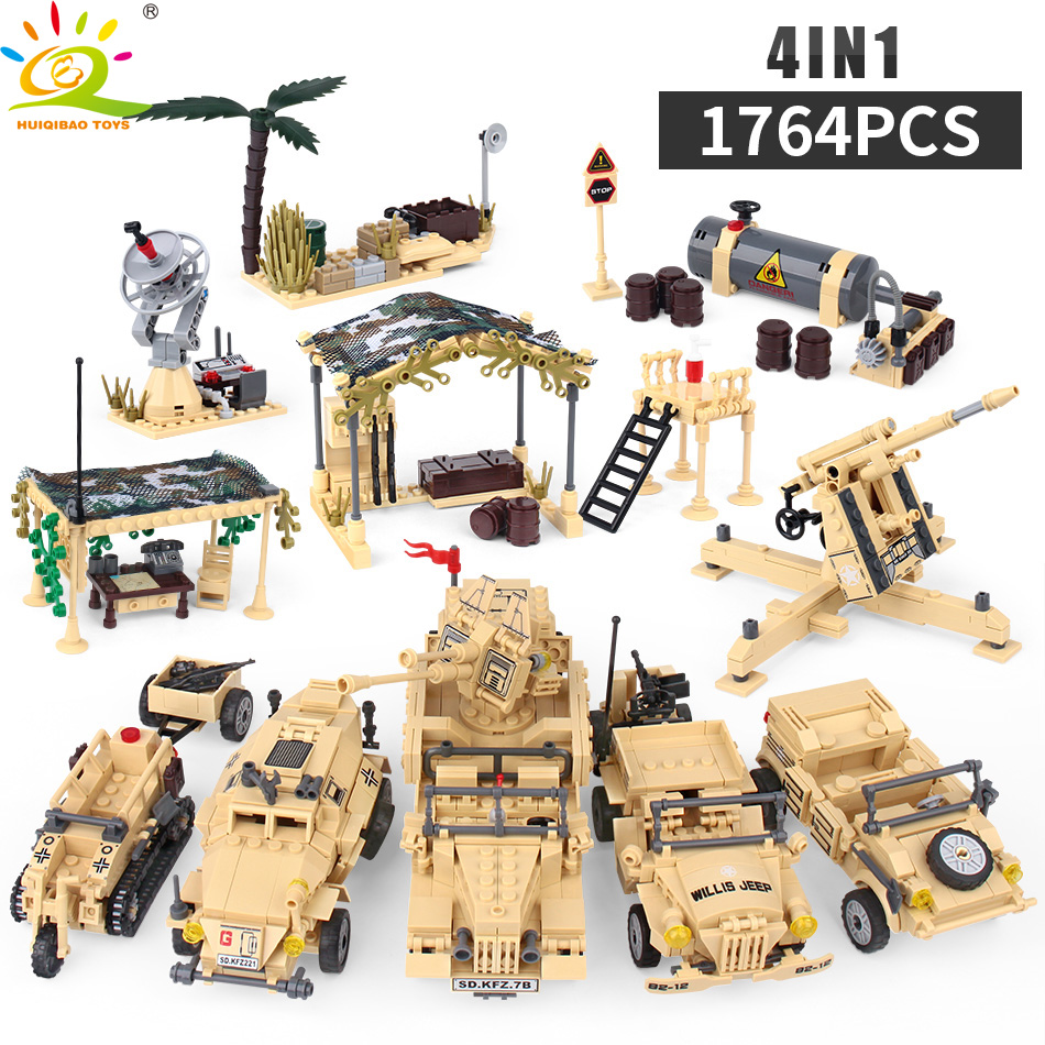 Military Weapon Truck Model Building Block Compatible Legoingly Army Tank With Soldier Figure Motorcycle Jeep Brick Children Toy