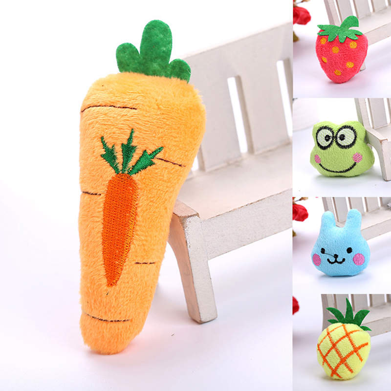 Cute Cat Toy Creative Simulation Mint Fruit Animal Plush Toy 2019 Multicolor Pineapple Strawberry Frog Chew Pet Toy For Cat