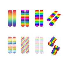 Winter Socks Rainbow Fall Pride Colorful Fashion Unisex Nova Striped Calzino Female Men