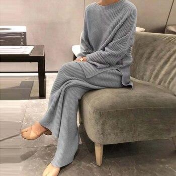 2020 moda zima kobiet zagęścić ciepłe dziergany sweter sweter dwa-wieloczęściowe kombinezony + wysokiej talii luźne spodnie z szeroką nogawką