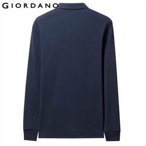 Image 3 - Giordano Men Polo Shirt Men Thick Solid Long Sleeve Polo Men Shirt Winter Warm Slim Soft Cotton Fabric 01019779