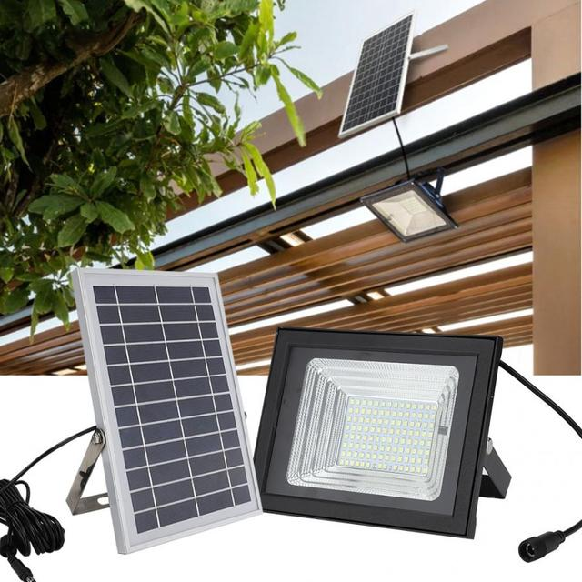 100W LED Solar Powered Wall Light IP65 Waterproof Floodlight With Remote Control Dimmable For Garden Light Energy Saving 1